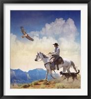 Framed Cowboy With Dog And Hawk