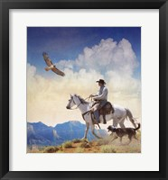 Framed Cowboy With Dog And Hawk