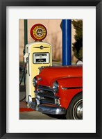 Framed Old Car And Pump