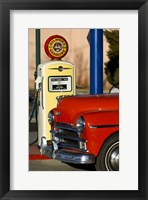 Framed Old Car And Pump