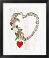 Framed Rustic Valentine Heart Wreath I