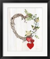 Framed Rustic Valentine Heart Wreath II