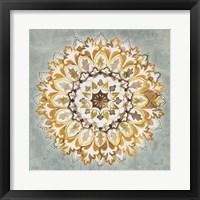 Mandala Delight II Yellow Grey Framed Print