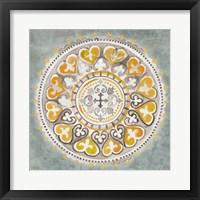 Mandala Delight III Yellow Grey Framed Print