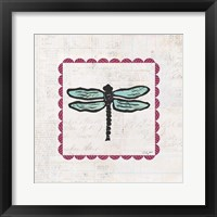 Framed Dragonfly Stamp Bright