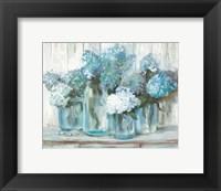 Framed Hydrangeas in Glass Jars Blue