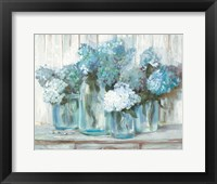 Framed Hydrangeas in Glass Jars Blue
