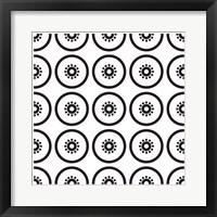 Framed Composizione Con Fette Di Kiwi In Bianco E Nero