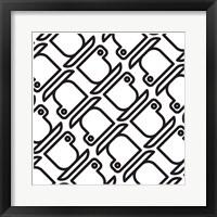 Framed Composizione Con Tazzine In Bianco E Nero