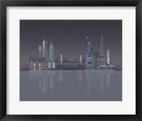 Framed New York Skyline Night Reflections