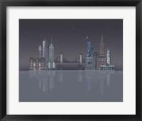 Framed New York Skyline Night Reflections