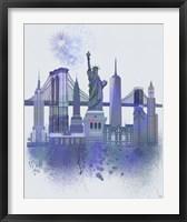 Framed New York Skyline Watercolour Splash Blue