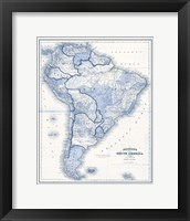 Framed South America in Shades of Blue
