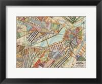 Framed Modern Map of Boston