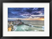 Framed Sunset over Vernazza Fishing Village Italy