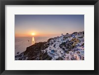 Framed Ship Sailing into the Sunset in Oia Greece