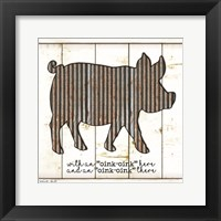 Framed Metal Pig