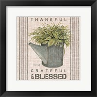 Framed Galvanized Watering Can Blessed