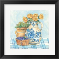 Framed Blue and White Pottery with Flowers II