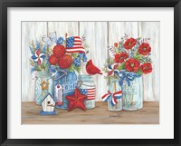 Framed Patriotic Glass Jars with Flowers