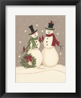 Framed Wreath & Cardinal Snowmen