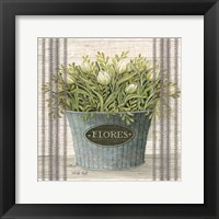 Framed Galvanized Flores