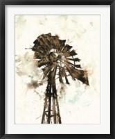 Framed Watercolor Windmill