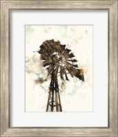 Framed Watercolor Windmill