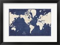 Framed Blueprint World Map
