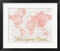 Framed Across the World Shes Going Places Pink