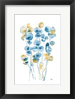 Framed Blue and Gold Watercolor Floral
