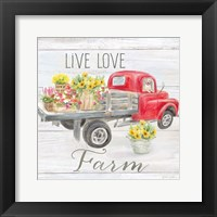 Framed Vintage Truck Sentiment I (red)