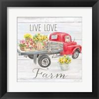 Framed Vintage Truck Sentiment I (red)