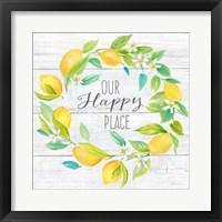 Framed Our Happy Place Lemon Wreath