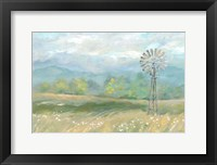 Framed Country Meadow Windmill Landscape