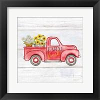 Framed Farmhouse Stamp Red Truck