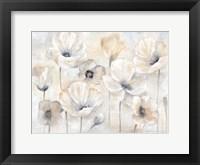 Framed Gray Poppy Garden Landscape