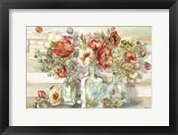 Framed Spice Poppies and Eucalyptus in bottles Landscape
