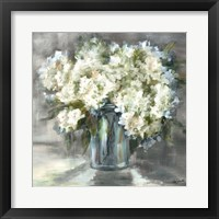 Framed White and Taupe Hydrangeas Sill Life