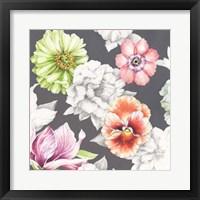 Framed Floral Sketch on Grey