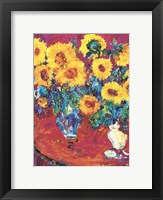 Framed Red Table with Sunflowers