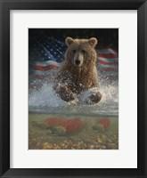 Framed Brown Bear Fishing America