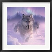 Framed Running Wolves - Northern Lights - Square