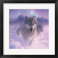 Framed Running Wolves - Northern Lights - Square