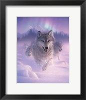 Framed Running Wolves - Northern Lights