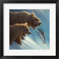 Framed Brown Bears - Fishing Lesson