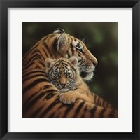 Framed Tiger Mother and Cub - Cherished