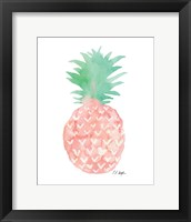 Framed Mint and Pink Pineapple
