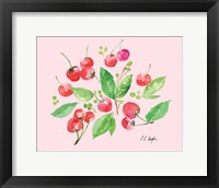 Framed Cherries and Leaves - Pale Pink