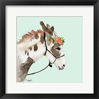Framed Pony with Floral Crown - Mint Background